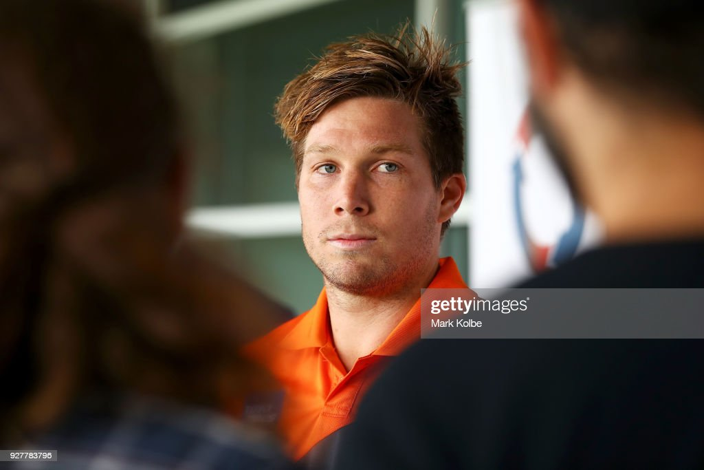 Toby Greene speaks to the media during a GWS Giants AFL Media Announcement that Greene has signed with the Giants on a 6 year contract at the WestConnex Centre on March 6, 2018 in Sydney, Australia.