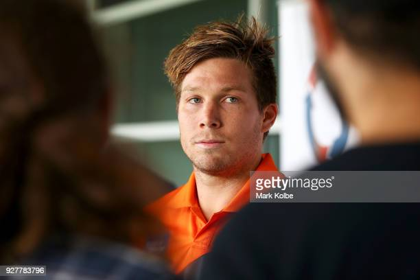 Toby Greene speaks to the media during a GWS Giants AFL Media Announcement that Greene has signed with the Giants on a 6 year contract at the...