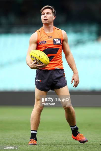 Toby Greene watches on during a Greater Western Sydney Giants AFL training session at the Sydney Cricket Ground on September 7 2018 in Sydney...