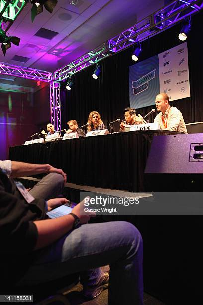 Toby Halbrooks Jody LeeLipes Clay Liford PJ Raval and James Laxton attend The Great Cinematography Shootout Panel during the 2012 SXSW Music Film...