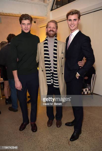 Toby HuntingtonWhiteley Alistair Guy and Samuel Harwood attend The Gentleman's Journal Christmas Drinks at Wild by Tart on December 18 2019 in London...