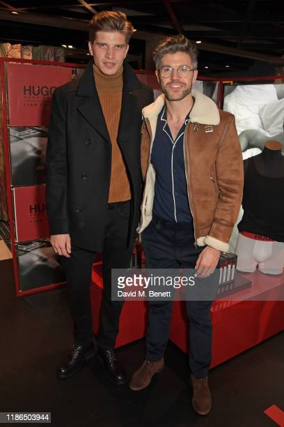 Toby HuntingtonWhiteley and Darren Kennedy attend the Hugo X Liam Payne Bodywear Campaign party at Flannels on December 4 2019 in London England