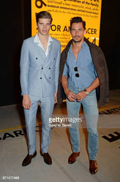 Toby HuntingtonWhiteley and David Gandy attend the Barbour International presentation during London Fashion Week Men's June 2018 at the ICA on June...