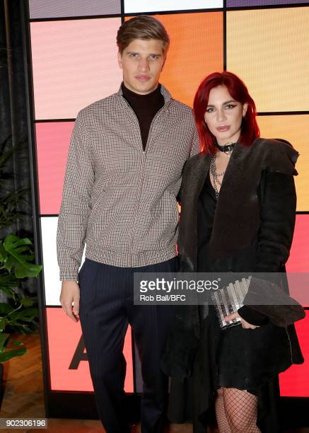 Toby HuntingtonWhiteley and Nikita Andrianova attends the TOPMAN LFWM Party during London Fashion Week Men's January 2018 at Mortimer House on...