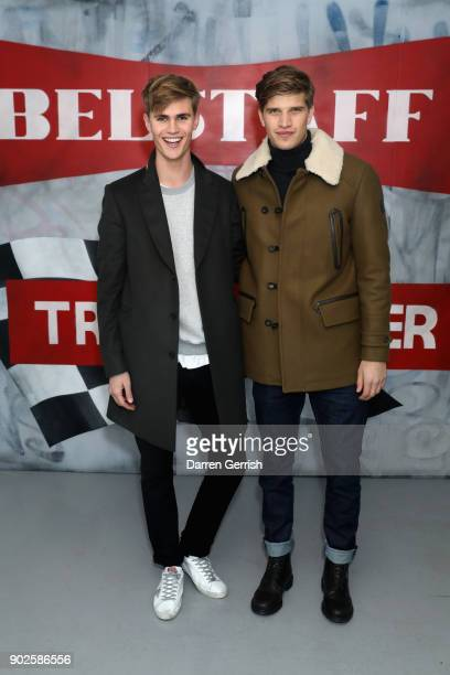 Toby HuntingtonWhiteley and Sam Harwood attend the Belstaff AW18 Mens Womens Presentation during London Fashion Week Men's January 2018 on January 8...
