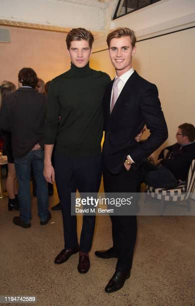 Toby HuntingtonWhiteley and Samuel Harwood attend The Gentleman's Journal Christmas Drinks at Wild by Tart on December 18 2019 in London England