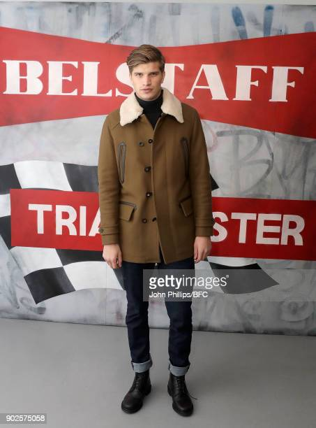 Toby HuntingtonWhiteley at the Belstaff presentation during London Fashion Week Men's January 2018 at The Vinyl Factory on January 8 2018 in London...