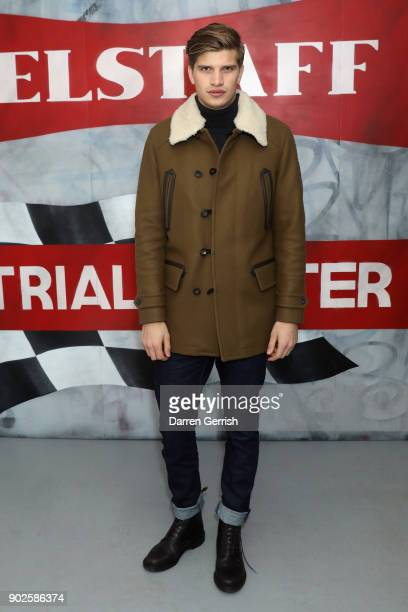 Toby HuntingtonWhiteley attends the Belstaff AW18 Mens Womens Presentation during London Fashion Week Men's January 2018 on January 8 2018 in London...