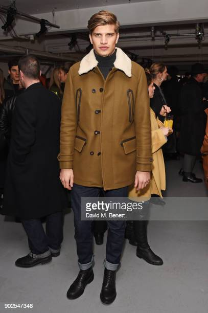 Toby HuntingtonWhiteley attends the Belstaff presentation during London Fashion Week Men's January 2018 at The Vinyl Factory Gallery on January 8...