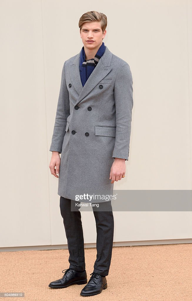 Toby Huntington-Whiteley attends the Burberry show during The London Collections Men AW16 at Kensington Gardens on January 11, 2016 in London, England.