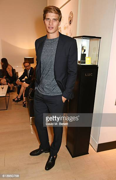 Toby HuntingtonWhiteley attends the cocktail opening of the Chopard exhibition 'LUC L'art d'une Manufacture' at Phillips Gallery on October 11 2016...