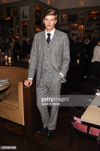 Toby HuntingtonWhiteley attends the GQ London Fashion Week Men's 2018 closing dinner hosted by Dylan Jones and Rita Ora at Berners Tavern on January...