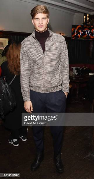 Toby HuntingtonWhiteley attends the LFWM Official Party Pub LockIn during London Fashion Week Men's January 2018 at The George on January 7 2018 in...