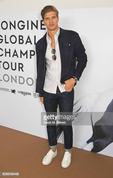 Toby HuntingtonWhiteley attends the Longines hospitality lounge at the Global Champions Tour at the Royal Hospital Chelsea on August 4 2017 in London...