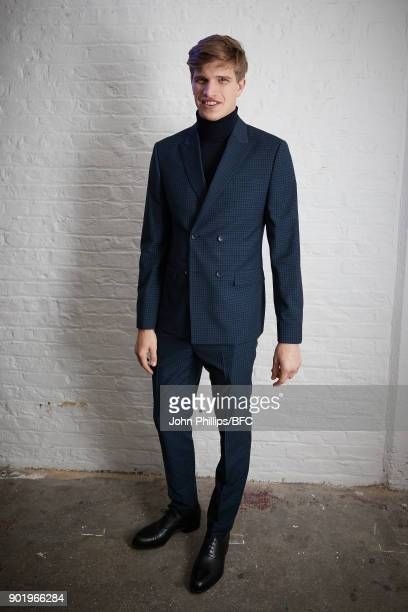 Toby HuntingtonWhiteley attends the River Island x Blood Brother Party during London Fashion Week Men's January 2018 at Hoxton Basement on January 6...
