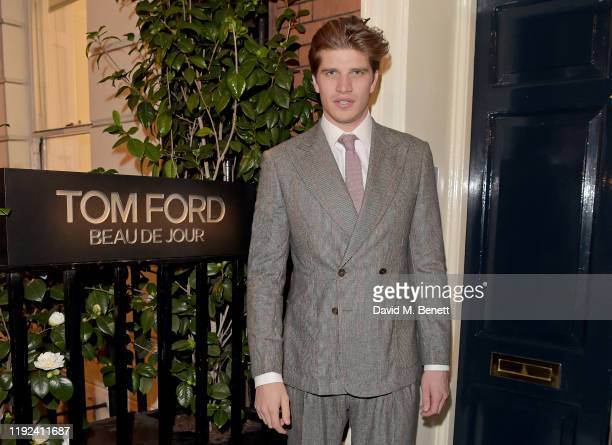 Toby HuntingtonWhiteley attends the Tom Ford Beauty Beau Du Jour event at Marks Club on January 7 2020 in London England