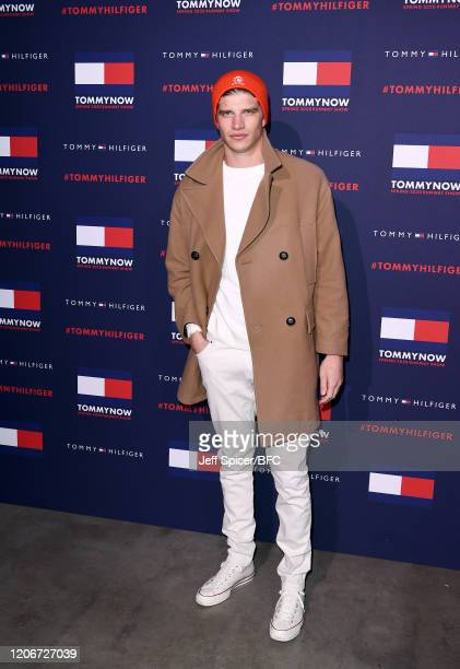 Toby HuntingtonWhiteley attends the TommyNow show during London Fashion Week February 2020 at the Tate Modern on February 16 2020 in London England