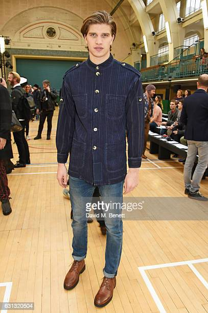 Toby HuntingtonWhiteley attends the Vivienne Westwood show during London Fashion Week Men's January 2017 collections at Seymour Leisure Centre on...