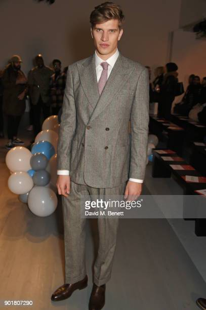 Toby Huntington-Whiteley attends the What We Wear show during London Fashion Week Men's January 2018 at BFC Show Space on January 6, 2018 in London,...