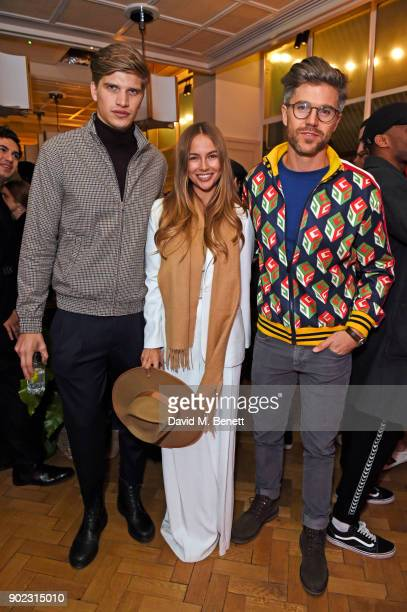 Toby HuntingtonWhiteley Emma Louise Connolly and Darren Kennedy attend the Topman LFWM party at Mortimer House on January 7 2018 in London England