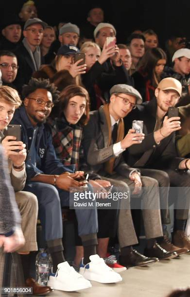 Toby HuntingtonWhiteley Jesiah Sampson Hector Bellerin Ollie Proudlock and Jim Chapman sit in the front row at the Oliver Spencer LFWM AW18 Catwalk...
