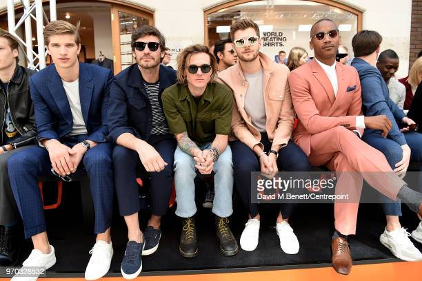 Toby HuntingtonWhiteley Robert Konjic Dougie Poynter Jim Chapman and Eric Underwood sit front row as St James's Hosts LFWM Shows on Jermyn Street on...