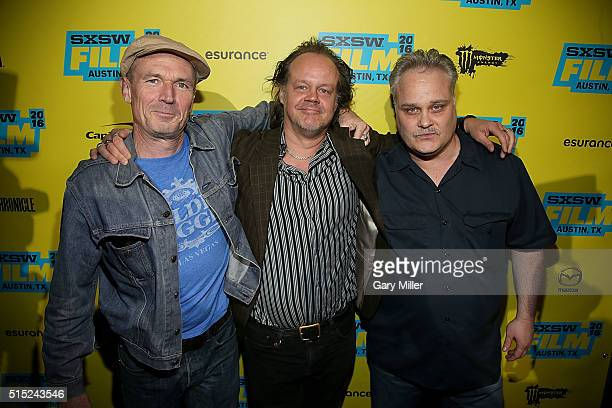 "Toby Huss, Larry Fessenden and Tommy Nohilly attend the premiere of ""In A Valley of Violence"" at the State Theater during the South by Southwest Film..."