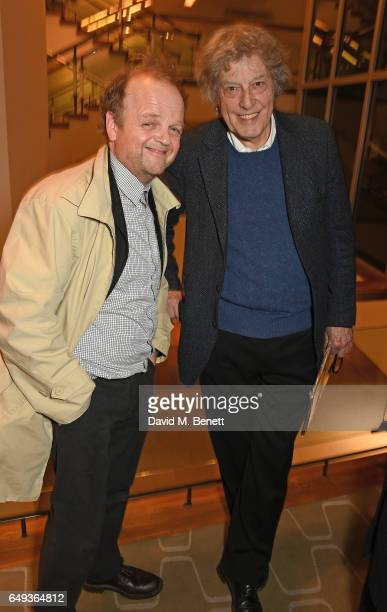Toby Jones and Sir Tom Stoppard attend the press night after party for The Old Vic's production of 'Rosencrantz Guildenstern Are Dead' at The Skylon...