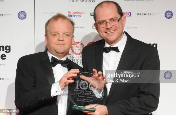 Toby Jones and Stevie Heywood pose in the press room at the London Critics' Circle Film Awards at The Mayfair Hotel on January 20 2013 in London...