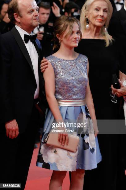 Toby Jones Fantine Harduin and Susi Haneke attend the Happy End screening during the 70th annual Cannes Film Festival at Palais des Festivals on May...