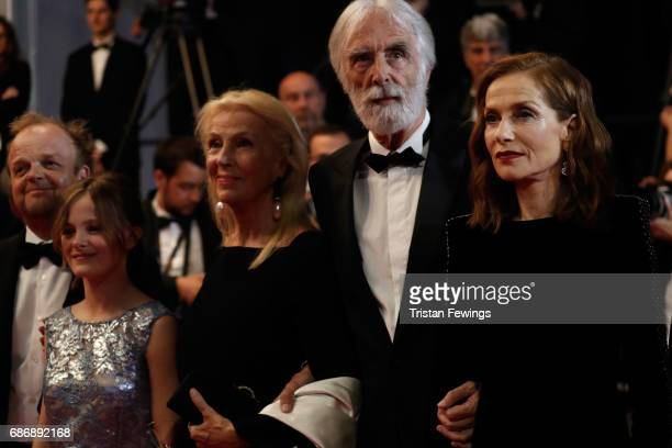 Toby Jones Fantine Harduin Susi Haneke Michael Haneke and Isabelle Huppert attend the Happy End screening during the 70th annual Cannes Film Festival...