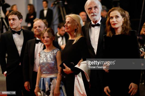 Toby Jones Franz Rogowski Fantine Harduin Susi Haneke Michael Haneke and Isabelle Huppert attend the Happy End screening during the 70th annual...