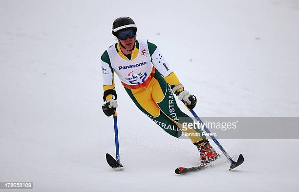 Toby Kane of Australia competes in the Men's Super Combined Standing Super G during day seven of the Sochi 2014 Paralympic Winter Games at Rosa...