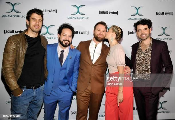 Toby Kebbell Ahmed Bharoocha Daniel Stessen Megan Ferguson and Nicholas Rutherford attends Adult Swim's DREAM CORP LLC Season 2 Premiere at Ace Hotel...