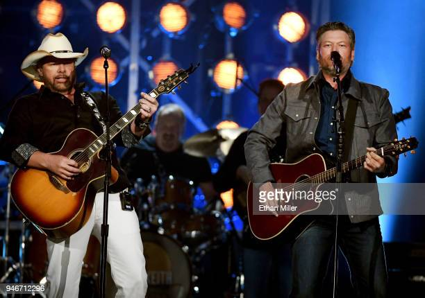 Toby Keith and Blake Shelton perform onstage during the 53rd Academy of Country Music Awards at MGM Grand Garden Arena on April 15 2018 in Las Vegas...