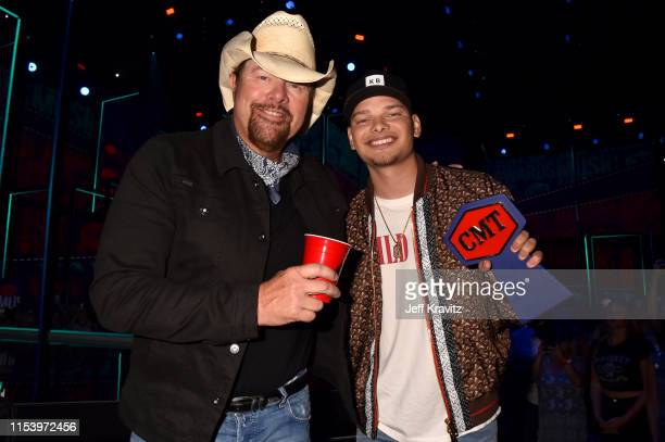 Toby Keith and Kane Brown attend the 2019 CMT Music Awards at Bridgestone Arena on June 05, 2019 in Nashville, Tennessee.