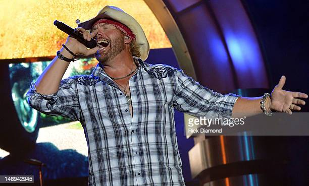 Toby Keith performs during the 2012 Country Stampede Day 3 at Tuttle Creek State Park on June 23 2012 in Manhattan Kansas