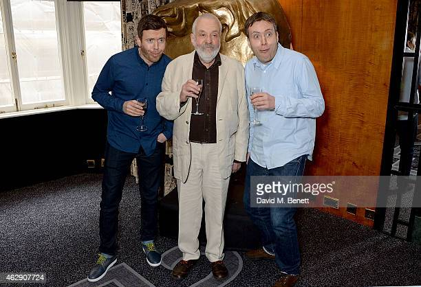 Toby Leigh Mike Leigh and Leo Leigh attend a luncheon to celebrate Mike Leigh receiving the BAFTA Academy Fellowship at The Savoy Hotel on February 7...