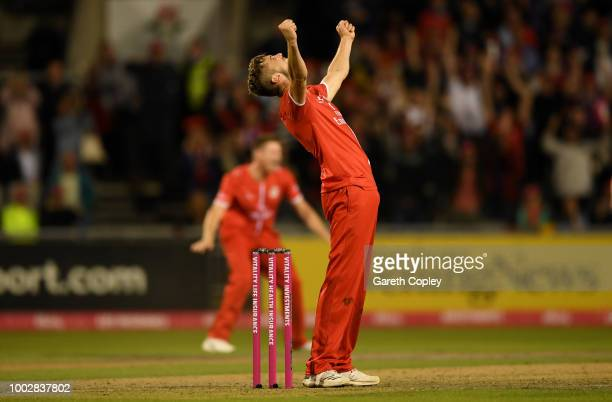 Toby Lester of Lancashire celebrates winning the Vitality Blast match between Lancashire Lighting and Yorkshire Vikings at Old Trafford on July 20...