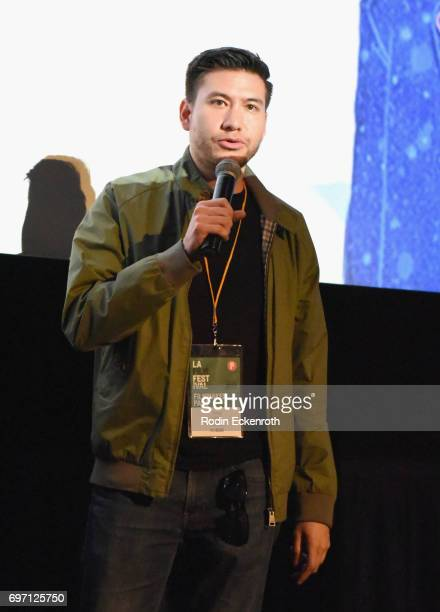 Toby Louie speaks onstage at Shorts Program 1 during the 2017 Los Angeles Film Festival at Arclight Cinemas Culver City on June 17 2017 in Culver...