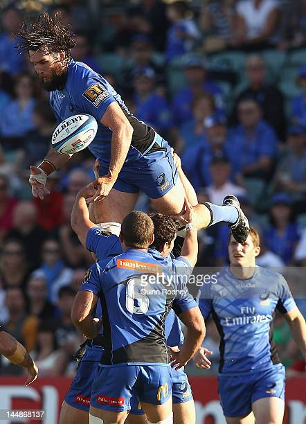 Toby Lynn of the Force catches the ball during the round 13 Super Rugby match between the Western Force and the Melbourne Rebels at NIB Stadium on...