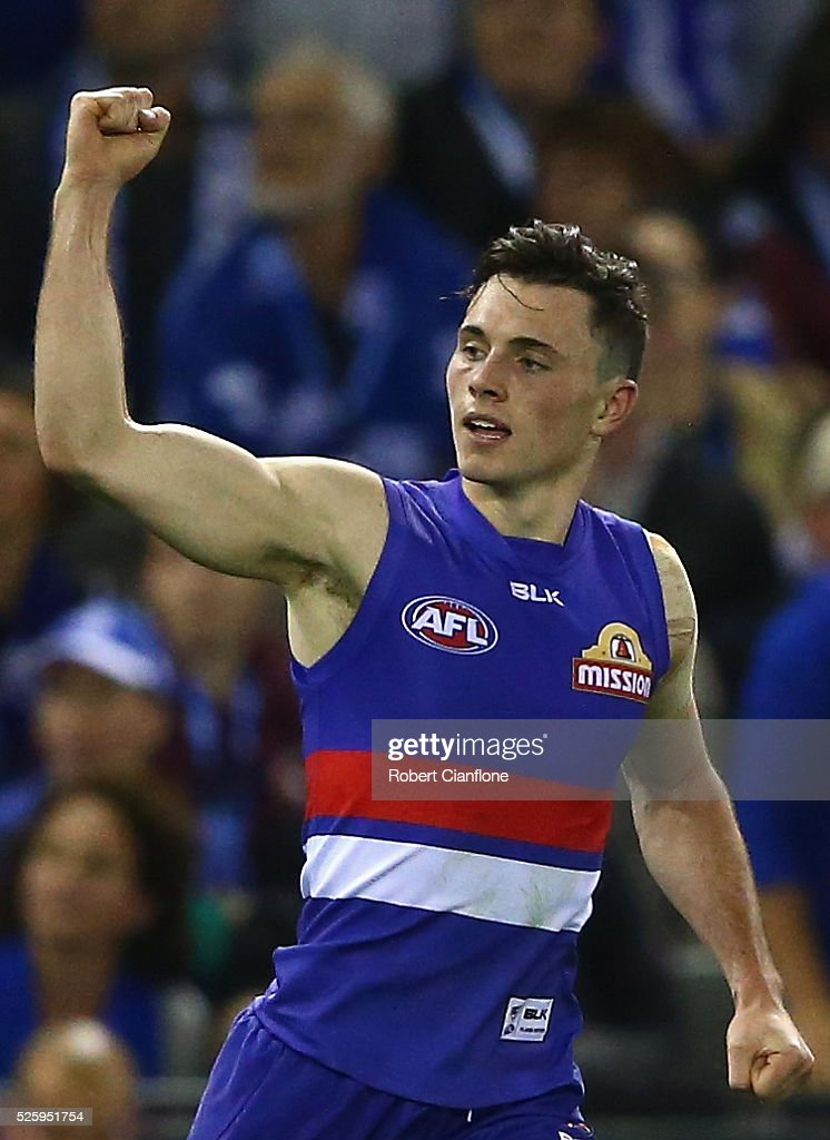 Toby McLean of the Bulldogs celebrates after scoring a goal during the round six AFL match between the North Melbourne Kangaroos and the Western Bulldogs at Etihad Stadium on April 29, 2016 in Melbourne, Australia.