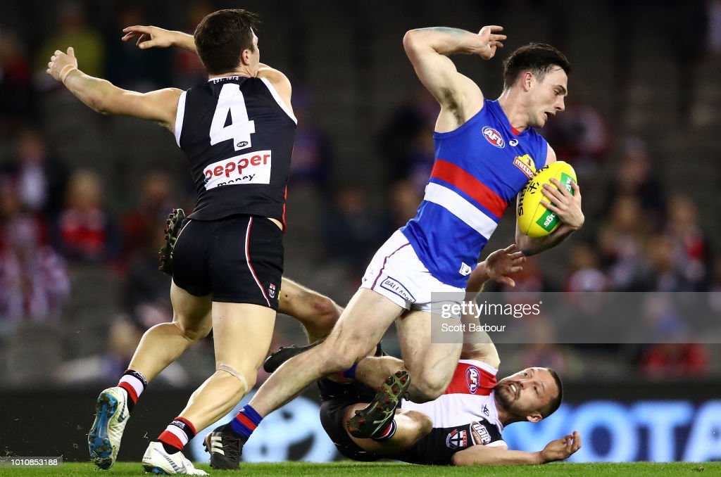 Toby McLean of the Bulldogs is tackled during the round 20 AFL match between the St Kilda Saints and the Western Bulldogs at Etihad Stadium on August 4, 2018 in Melbourne, Australia.