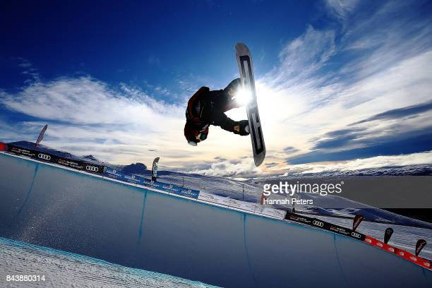 Toby Miller of USA competes during the Winter Games NZ FIS Men's Snowboard World Cup Halfpipe Finals at Cardrona Alpine Resort on September 8 2017 in...