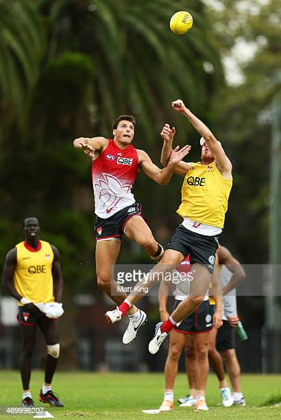 Toby Nankervis competes with Lewis Roberts-Thomson during a Sydney Swans AFL training session at Lakeside Oval on February 18, 2014 in Sydney,...