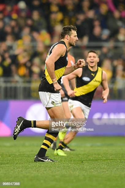 Toby Nankervis of the Tigers celebrates kicking a goal during the round 17 AFL match between the Greater Western Sydney Giants and the Richmond...