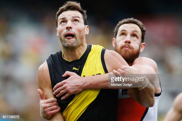 Toby Nankervis of the Tigers competes for the ball against Shane Mumford of the Giants during the round 18 AFL match between the Richmond Tigers and...