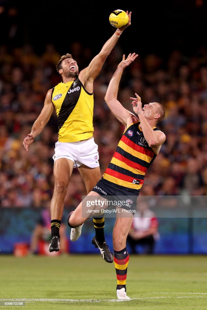 Toby Nankervis of the Tigers competes with Sam Jacobs of the Crows during the 2018 AFL round 02 match between the Adelaide Crows and the Richmond Tigers at Adelaide Oval on March 29, 2018 in Adelaide, Australia.