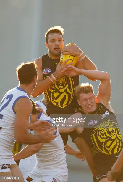Toby Nankervis of the Tigers marks the ball during the AFL JLT Community Series match between the Richmond Tigers and the North Melbourne Kangaroos...