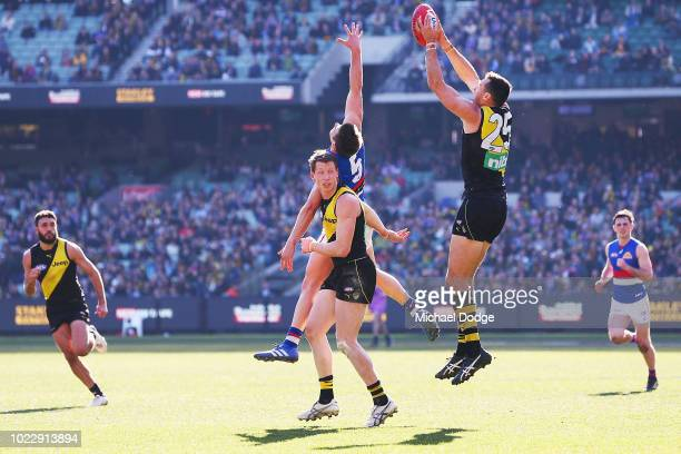 Toby Nankervis of the Tigers marks the ball during the round 23 AFL match between the Richmond Tigers and the Western Bulldogs at Melbourne Cricket...